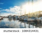 colorful city on the water ... | Shutterstock . vector #1084314431