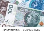 100 zloty banknote with other Polish zloty bills in the bankground