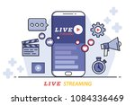 flat design of live streaming... | Shutterstock .eps vector #1084336469