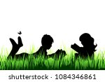 vector silhouette of girl and... | Shutterstock .eps vector #1084346861
