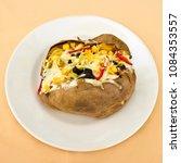 baked kumpir potato stuffed...   Shutterstock . vector #1084353557