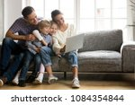 happy family with little kids... | Shutterstock . vector #1084354844