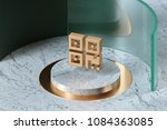 golden qrcode icon on the... | Shutterstock . vector #1084363085
