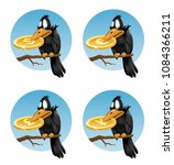 funny crow holds symbols of... | Shutterstock .eps vector #1084366211