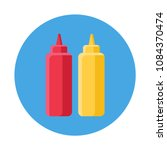 Ketchup And Mustard Flat Icon...