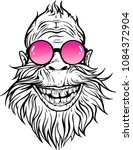 Stock vector image of smiling yeti in rose round sunglasses 1084372904