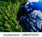 aerial view of blue lake and... | Shutterstock . vector #1084374194
