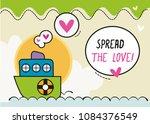 spread the love design card ... | Shutterstock .eps vector #1084376549