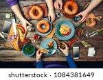 american bagels  sandwiches ... | Shutterstock . vector #1084381649