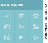 travel icon set and ticket with ...