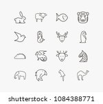 animal icon set and fish with...