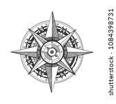 medieval wind rose engraving... | Shutterstock .eps vector #1084398731