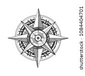 medieval wind rose engraving... | Shutterstock . vector #1084404701