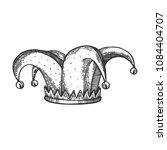jester hat engraving raster... | Shutterstock . vector #1084404707