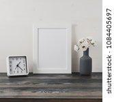 white frame  flower in vase ... | Shutterstock . vector #1084405697