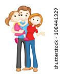 illustration of 3d happy family ... | Shutterstock .eps vector #108441329