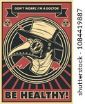 Vector Medieval Plague Doctor Poster. Obey Style