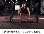 muscular men lifting deadlift... | Shutterstock . vector #1084435391