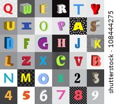 set of vector letters in color... | Shutterstock .eps vector #108444275