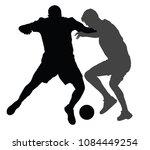 soccer players in duel vector... | Shutterstock .eps vector #1084449254