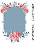 watercolor crest romantic frame ...   Shutterstock . vector #1084449305