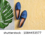 pair of female shoes with green ... | Shutterstock . vector #1084453577