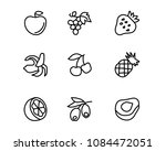 fruit hand drawn icon set... | Shutterstock .eps vector #1084472051