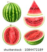 isolated watermelons.... | Shutterstock . vector #1084472189