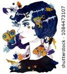 portrait of a moth girl. girl... | Shutterstock . vector #1084473107