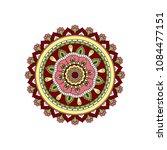mandala. round ornament floral... | Shutterstock .eps vector #1084477151