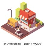vector low poly shop and truck... | Shutterstock .eps vector #1084479209
