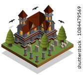 castle in the cemetery.... | Shutterstock .eps vector #1084479569
