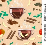 a seamless cozy pattern with... | Shutterstock .eps vector #1084486121