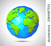low poly earth isolated on... | Shutterstock .eps vector #1084487531