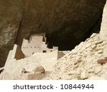 This is a tower at Cliff Palace Mesa Verde near Durango Colorado - stock photo