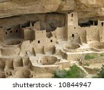 This is the Mesa Verde Cliff Palace near Durango Colorado - stock photo