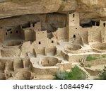 This is the Mesa Verde Cliff Palace near Durango Colorado - stock photo