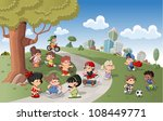 cute happy cartoon kids playing ... | Shutterstock .eps vector #108449771
