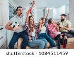 happy friends or football fans...   Shutterstock . vector #1084511459