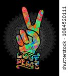 hippie symbols two fingers as a sign of victory, a sign of Pacific and letterin love and peace. In the style of the