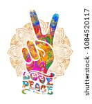 hippie symbols two fingers as a ... | Shutterstock .eps vector #1084520117