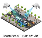isometric city security system... | Shutterstock .eps vector #1084524905