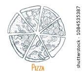 monochrome italian pizza hand... | Shutterstock .eps vector #1084535387