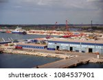dry dock shipyard at the port... | Shutterstock . vector #1084537901