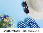 summer hat  flowers and flip... | Shutterstock . vector #1084539611