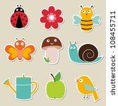 Summer garden vector stickers set