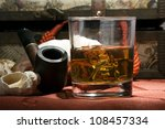 a glass of old whiskey on the... | Shutterstock . vector #108457334