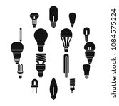 light bulb icons set in simple... | Shutterstock .eps vector #1084575224