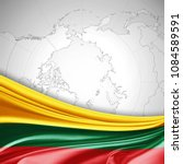 lithuania  flag of silk and... | Shutterstock . vector #1084589591