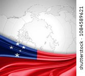 samoa flag of silk and world... | Shutterstock . vector #1084589621